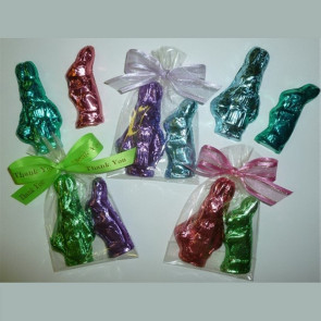 Chocolate Bunny 2-Pack in Pastel Foil and Wrapped in Cello