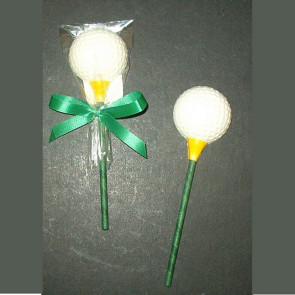 White Chocolate Golf Ball on Green Golf Tee Pop In Cello with Bow