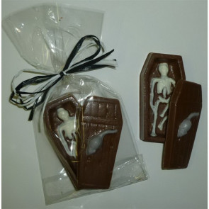 Chocolate Skeleton in Coffin in Cello Bag with Raffia Bow
