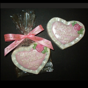 Mothers Day Chocolate Heart Hand Painted - In Cello with Bow