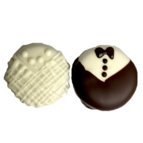 Bride & Groom Chocolate Covered Fancy Cookie 2 Pack