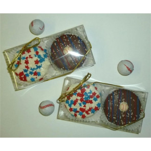 Baseball Chocolate Dipped Fancy Cookie with Confetti  2 Pack