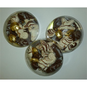 Milk and White Chocolate Assorted Seashell Shapes in Round Box
