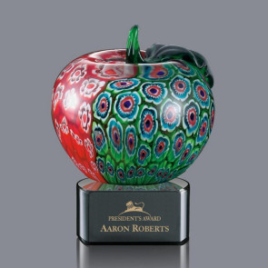 Arcadia Apple Art Glass Award on Ebony Glass Base