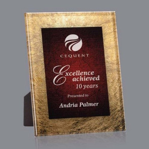 Hereford Acrylic Award - Gold/Burgundy 7 3/4 in x9 3/4 in