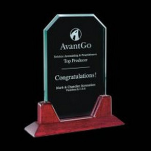 Aylesford Jade Glass Award on Rosewood Base 8 in.