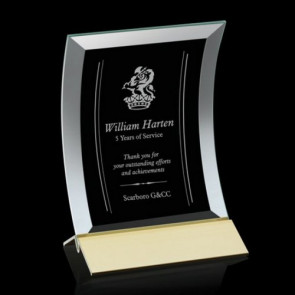 Dominga Award Curved bevelled Jade Crystal on Aluminum Base 4in x6in