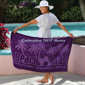 Jewel Collection Colored Beach Towel -Embroidered