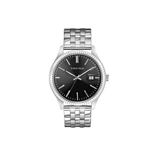 Caravelle Mens Coin Edge Bracelet Dress Watch Black Dial with Date Marker