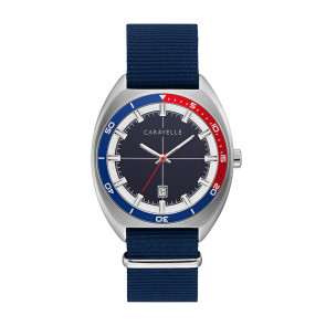 Caravelle Mens Retro Sport Watch with NATO Strap, Navy and Red Bezel