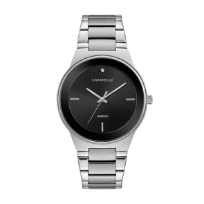 Caravelle Mens Modern Diamond Bracelet Watch, Black Dial