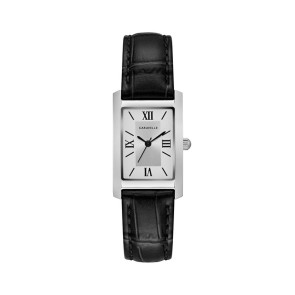 Caravelle Ladies Rectangular Black Leather Strap Watch