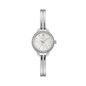Caravelle Ladies Stainless Steel Bangle Bracelet Watch with Mother-of-Pearl Dial and Crystal Bezel