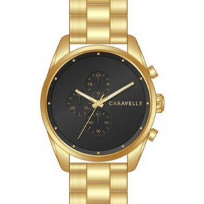 Caravelle Mens Gold Bracelet with Black Dial and Chronograph function