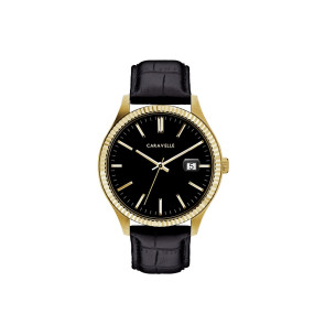 Caravelle Mens Black Leather Strap Watch With Gold Tone Accents, Black Dial and Date Marker