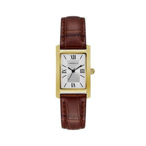 Caravelle Ladies Rectangular Brown Leather Strap Watch with Gold Tone