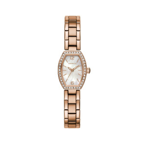 Caravelle Ladies Rose Gold Tone Stainless Steel Crystal Accent Watch with Tonneau Mother-of-Pearl Dial