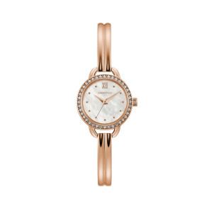 Caravelle Ladies Rose Gold Tone Stainless Steel Bangle Watch with Mother-of-Pearl Dial and Crystal Bezel