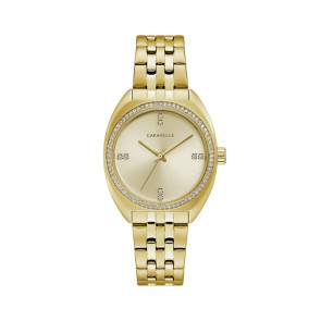 Caravelle Ladies Retro Gold Tone Stainless Steel Bracelet Watch with Crystal Bezel and Dial Accents