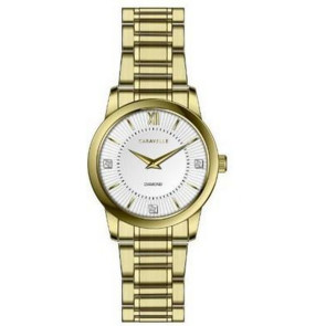 Caravelle Ladies Bracelet from the Dress Collection- Gold with Diamond Markers