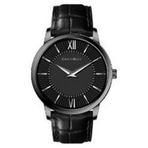 Caravelle Mens Leather Strap from the Dress Collection- Black Dial and Strap