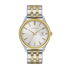 Caravelle Mens Two Tone Stainless Steel Watch with Coin Edge Bezel, Gold Accents and Date Marker