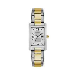 Caravelle Ladies Rectangular Two Tone Stainless Steel Bracelet Watch