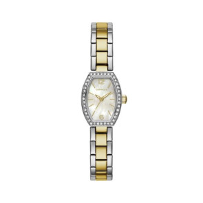 Caravelle Ladies Two Tone Stainless Steel Crystal Accent Watch with Tonneau Mother-of-Pearl Dial