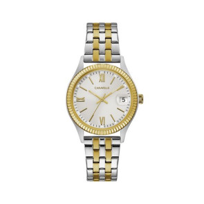 Caravelle Ladies Two Tone Stainless Steel Bracelet Watch with Coin Edge Bezel and Date Marker