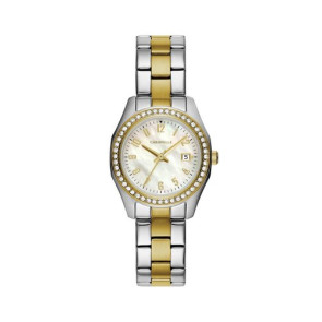 Caravelle Ladies Two Tone Stainless Steel Bracelet Watch with MotherofPearl Dial Crystal Bezel and Date Marker