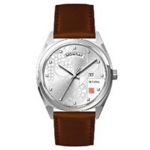 Frank Lloyd Wright Mens Brown Leather Strap Watch with Detailed Dial, Silver Accents and Date Function