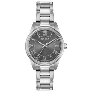 Bulova Watches Ladies Silver Bracelet Watch with Round Grey Dial