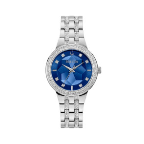 Bulova Watches Ladies Crystal Phantom Faceted Crystal Blue Dial Silver Bracelet