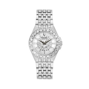Bulova Watches Ladies Crystal Phantom Baguette Silver Bracelet