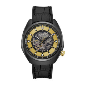 Bulova Watches Mens GRAMMY Black Leather Strap Gold Details Automatic