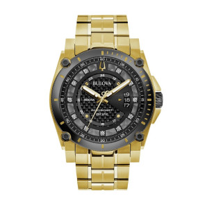 Bulova Watches Mens Precisionist Gold Bracelet with Black Dial and Diamonds