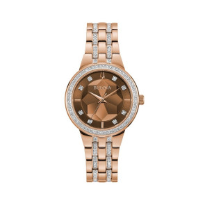 Bulova Watches Ladies Crystal Phantom Faceted Crystal Dial Rose Gold Bracelet