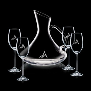 Bearden Carafe and 4 Wine Glasses Engraved
