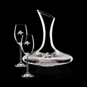 Madagascar Carafe and 2 Wine Glasses Engraved