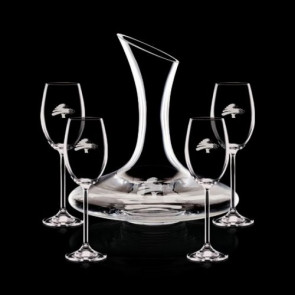 Madagascar Carafe and 4 Wine Glasses Engraved