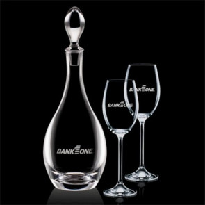 Malvern Decanter and 2 Wine Glasses Engraved