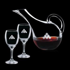 Medford Carafe and 2 Wine Glasses Engraved