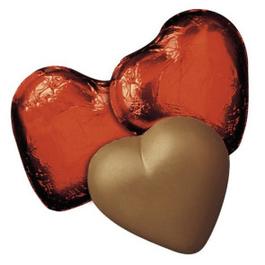 Milk Chocolate Hearts in Red Foil - Stock