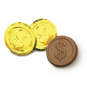 Milk Chocolate Dollar Sign Coins - Stock No Logo