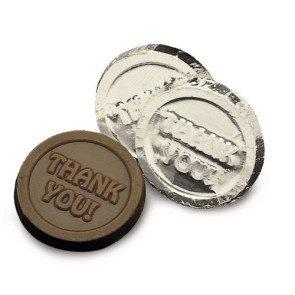 Thank You Coins-Dark Chocolate in Silver Foil