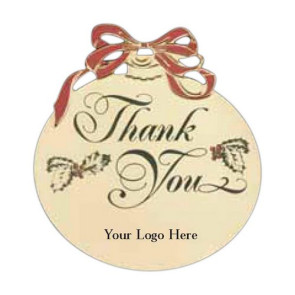 Christmas Ball Holiday Ornament with Thank You