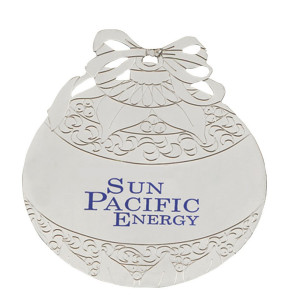 Silver Ball Christmas Ornament Engraved Accents