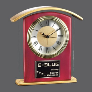 Illovo Clock - Rosewood/Clear/Gold 6.5 in.