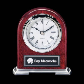 Birmingham Clock - Rosewood with Chrome Accents