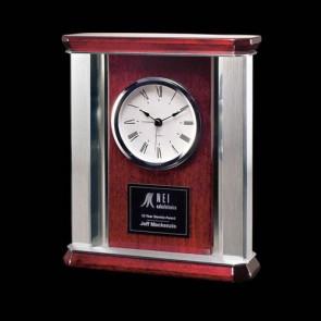 Rosedale 9 in. Mantle Clock - Rosewood/Alum
